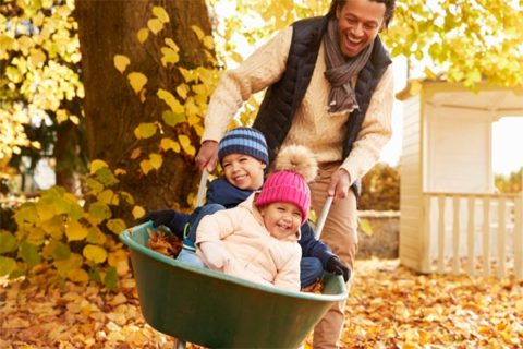 Father pushing children around in wheelbarrow